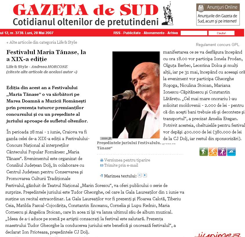 GAZETA de SUD - Cotidianul oltenilor de pretutindeni  |Gazeta De Sud